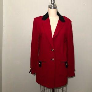 St. John Marie Gray Red and Black Jacket Blazer 10